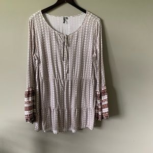 ND Weekend Tunic Large White Brown Bell Sleeves